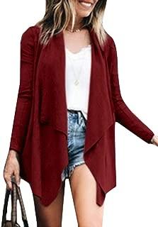 WSPLYSPJY Womens Casual Long Sleeve Lapel Open Front Loose Irregular Cardigan Coat