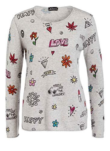 Grace Damen Pullover Happy Love Grau Motive (XS)