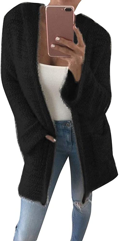 Cardigan Sweaters for Women,Women's Long Sleeve Soft Chunky Knit Sweater Open Front Cardigan Outwear Coat with Pockets