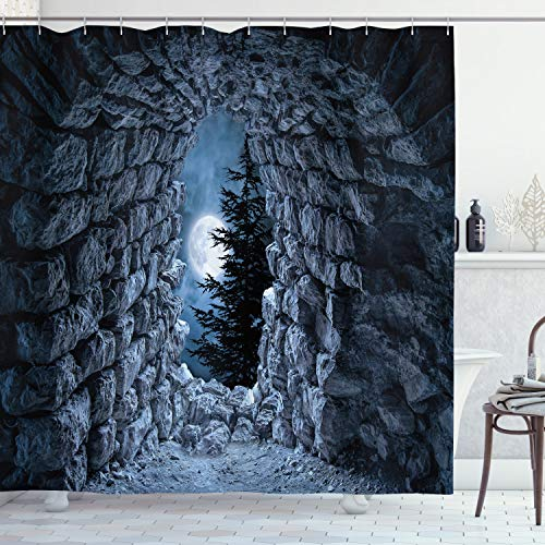 Ambesonne Gothic Shower Curtain, Dark Cave with The Full Moon at Night Scary Horror Medieval Gothic Artwork Print, Cloth Fabric Bathroom Decor Set with Hooks, 70' Long, Blue Grey