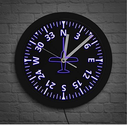 QAZQAZ Reloj de Pared Medidores de Aviones Instrumentos de Cabina Iluminación LED de aviación Reloj de Pared Control de avión Reloj de Pared Luminoso Piloto Decoración del hogar Reloj