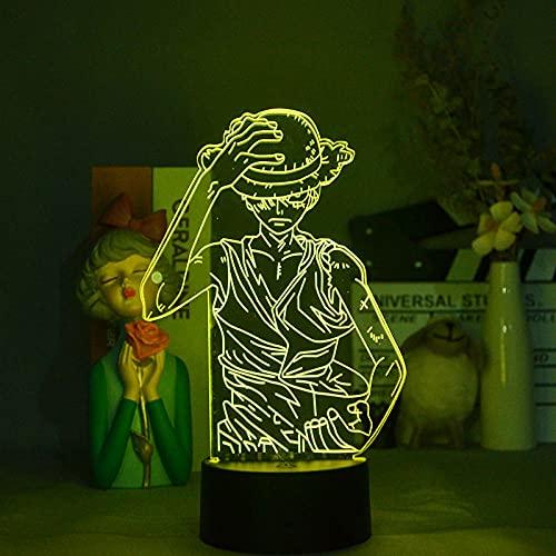 MDJK - Luz nocturna 3D Anime Acrílico 3D Anime One Piece Luffy Hat LED Dormitorio Decoración Cool Anime Regalos para él Colorido Luz nocturna 16 Colores