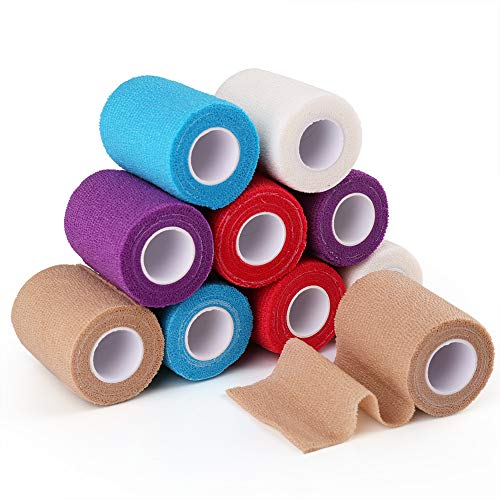 Self Adherent Wrap, 3 Inch x 5 Yards, 10 Rolls, Medical Tape, Self Adhesive Bandage Wrap, Elastic Cohesive Bandage, Flexible First Aid Tape for Sprain Swelling and Soreness, Assorted Color