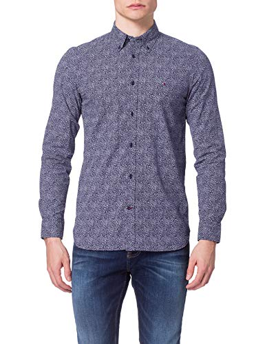 Tommy Hilfiger Slim Micro Floral Print Shirt Camisa, Carbono Azul Marino/Blanco/Azul Dulce, M para Hombre