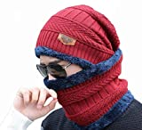 PinKit 2 Pieces Winter Beanie Cap Neck Scarf Set Warm Knitted Fur Lined