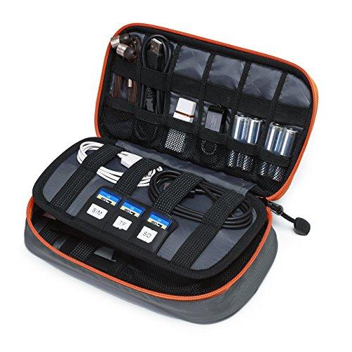 bagsmart Elektronische Tasche Reise, Elektronik Zubehör Tasche Doppelte Schichte Kompakt für USB Ladegerät, Kabel,Externer Akku, SD Karten (Grau-S)