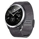 QKa Smart Watch mit EKG-Wiedergabediagramm und Blutdruck-Herzfrequenzmesser, Einstellbarer Helligkeit Edelstahl-Armband Smartwatch IP67,Black