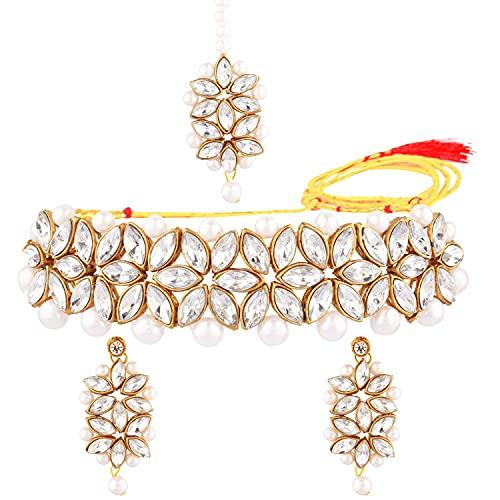 Efulgenz Collar de perlas de imitación de cristal de la India, collar y pendientes de Maang Tikka Bollywood, joyería nupcial para las mujeres, Metal, desconocido,