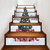 �rbol de Navidad 3D autoadhesivo Escalera Pegatinas- impermeable extraíble del peldaño etique cáscara y palillo pared pegatinas decoración del hogar