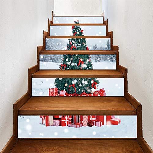 Árbol de Navidad 3D autoadhesivo Escalera Pegatinas- impermeable extraíble del peldaño etique cáscara y palillo pared pegatinas decoración del hogar