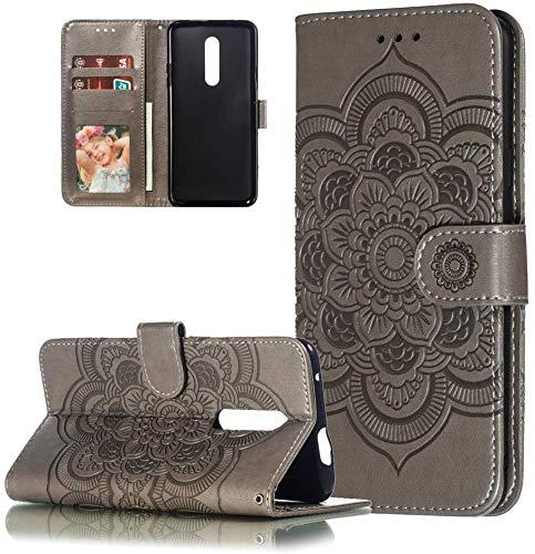 HMTECH Nokia 3.2 Hülle,Für Nokia 3.2 Handyhülle Prägung Mandala-Blume Flip Case PU Leder Cover Magnet Schutzhülle Tasche Skin Ständer Handytasche für Nokia 3.2,LD Mandala Gray