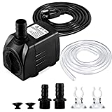 Fountain Pump, 400GPH(25W 1500L/H) Submersible Water Pump, Durable Outdoor Fountain Water Pump with 6.5ft Tubing (ID x 1/2-Inch), 3 Nozzles for Aquarium, Pond, Fish Tank, Water Pump Hydroponics