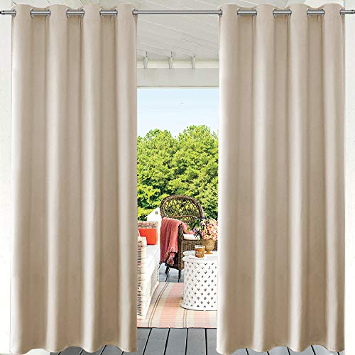 """PRAVIVE Patio Curtains Outdoor Blinds - Stainless Steel Grommet Heavy-duty Outdoor Living Drapes PrivacyProtection for Gazebo & Deck Front Porch & Canvas, W52""""x L95, Cream Beige, 1 Panel"""