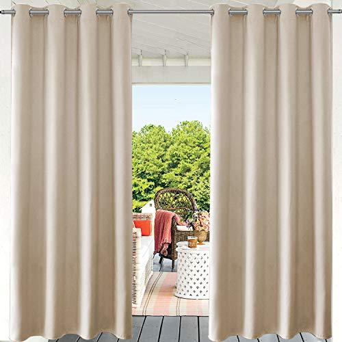 PRAVIVE Terrassenvorhänge für den Außenbereich, mit Ösen für den Innen- und Außenbereich, wasserdicht, für Terrassendekoration, Pavillon und Pergola, 132 x 224 cm, creme-beige, 1 Stück