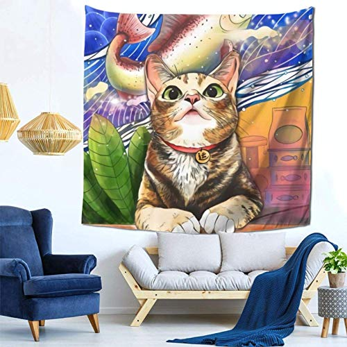 Lsjuee Cats Dream Tapestry Wall Hanging Home Decor Fan Art per Camera da letto Soggiorno Dormitorio
