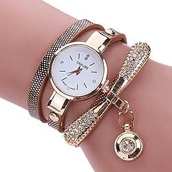 Brown Leather Rhinestone Analog Quartz Wrist Watch