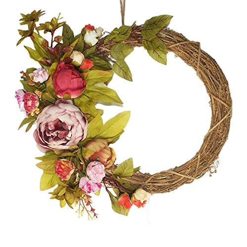 imaly Decor Corona Decorativa stagionale Porta Anteriore, Ghirlanda in Rattan, per Esterni, in Autunno, Inverno, Primavera, Estate e