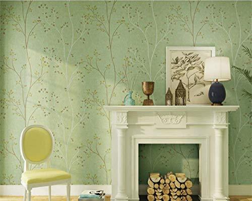 Behang Retro Donkergroene Gele Behang Warme Slaapkamer Tv Achtergrond Muur Pastorale Blad 3D Wallpaper-1