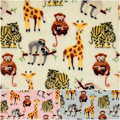 DIE NÄHZWERGE Superflausch Zoo, in 3 Farben - Meterware ab 50cm | Wellness-Fleece Softplüsch Microfleece Flanell Tiere Wilde Tiere (Beige)