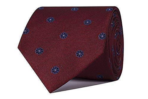 Sologemelos - Cravate Fleurs - Rouge 100% soie naturelle - Hommes - Taille Unique - Confection artesanale Made In Italy