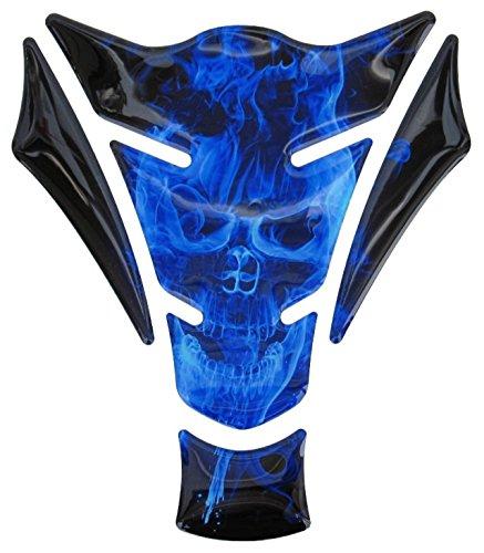 Tankpad 3D 500060 Ghost Blue Totenkopf Motiv Flammen Blau universell für Motorrad Tanks