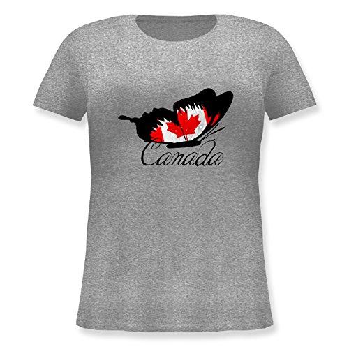Länder - Schmetterling Canada - XL (50/52) - Grau meliert - JHK601 - Lockeres Damen-Shirt in großen Größen mit Rundhalsausschnitt