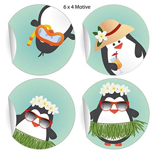 24 lustige Sommer Aufkleber mit Comic Pinguinen, türkis, MATTE universal Papieraufkleber auch für Geschenke, Etiketten für Tischdeko, Pakete, Briefe und mehr (ø 45mm