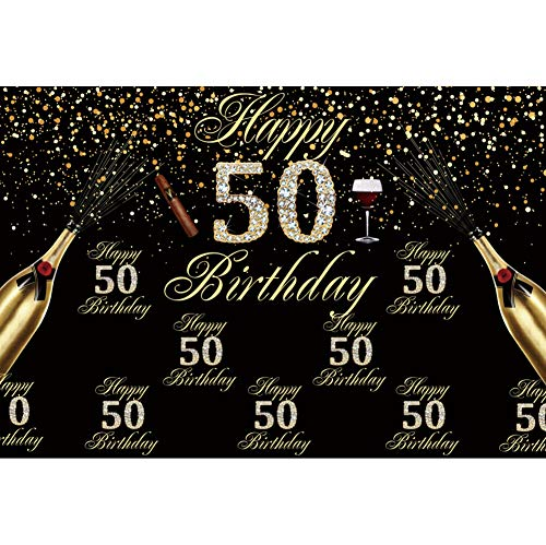 OERJU 9x6ft Happy 50th Birthday Backdrop Cigar Champagne Diamonds Black and Gold Theme 50th Birthday Background for Photography Men Birthday Party Banner Bday Photo Background