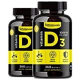 Vitamina D3 1000 IU Softgels - [360 Cápsulas] (Pack de 2) Aceite de Oliva Virgen Extra para Absorción Máxima -'Vitamina del Sol' para Mejorar el Humor y el Sistema Inmunitario