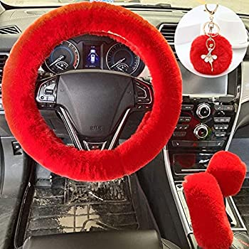 ZYNQACC 4PCS Set Fluffy Steering Wheel Covers with Handbrake Cover&Gear Shift Cover&Plush Keychain Faux Wool Furry Steering Wheel Cover for Women Auto Interior Universal Fit for 15 Inch  Red