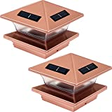 GreenLighting 2 Pack Pinnacle High End Solar LED Post Cap Light for 4 x 4 Wood Posts (Copper)
