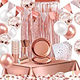 iZoeL Decoración de fiesta de oro rosa suministros para 16 invitados vajilla banderines cortina mantel platos servilletas tazas pajitas globo cumpleaños boda despedida aniversario