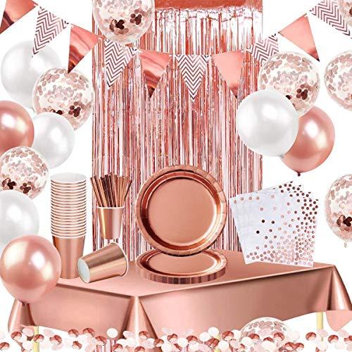 iZoeL Decoración de fiesta de oro rosa suministros para 16 invitados vajilla...