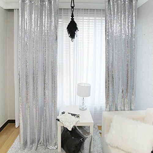 TRLYC 2X8FT Christmas Silver Sequin Curtain Panel for Wedding Party