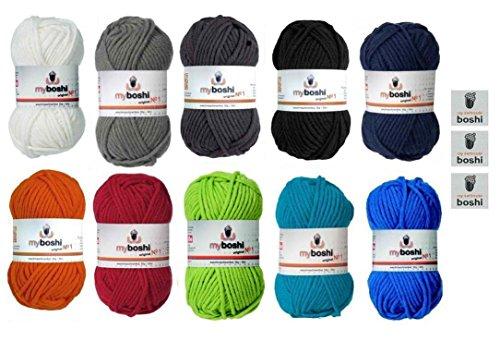 myboshi Basic Lot de 10 pelotes de laine avec 3 étiquettes myboshi Blanc 191/argenté 193/anthracite 194/noir 196/bleu marine 155/orange 131/rouge vif 134/vert lime 121/turquoise 152/bleu 153 50 g