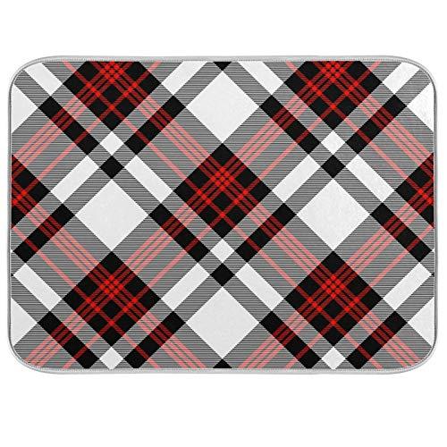 Tapis de séchage à vaisselle Microfibre de comptoirs de cuisine Protecteur de coussin sec 16 x 18 pouces Funny Plaid