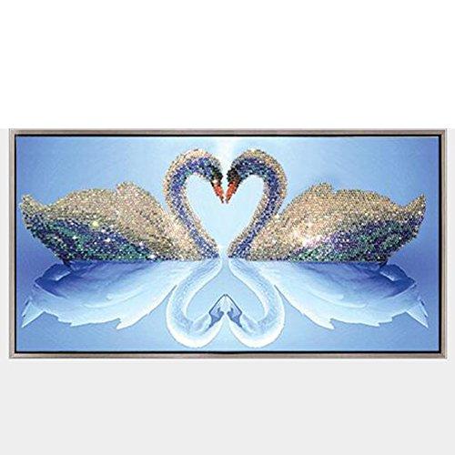 Zhouba 5d bricolage Diamant Peinture Loving cygnes décoratifs salle de bureau à domicile Décoration murale sans cadre, multicolore, Taille unique