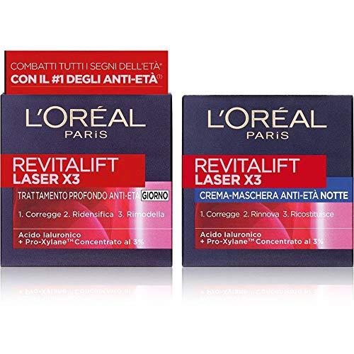 L Oréal Paris Revitalift Laser X3 Routine Viso per Combattere Tutti i Segni dell Età, include Crema Viso Giorno + Crema Viso Notte Anti-rughe, Arricchite con Pro-Xylane