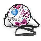 Diseño de moda impresión eslogan arco mariposa corazón rosa flor de las mujeres mano redonda Crossbody Sra. hombro Menger bolso personalizado