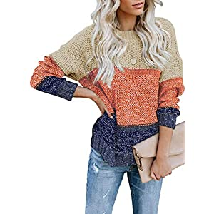 Women's  Striped Sweater Long Sleeve Loose Knit Pullover Jumper Tops