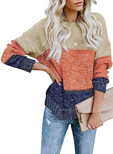 CANIKAT Women's Crewneck Color Block Striped Sweater Long Sleeve Loose Knit Pullover...