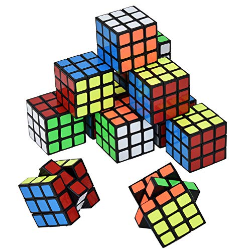 Willingood Puzzle Magic Cube 3x3 12pk 3 * 3 * 3cm, Party Bags Fillers for Kids, Christmas Party Bag Fillers for Children