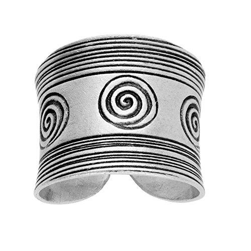 81stgeneration Anello Donna Argento Fine .999 Tribal Karen Hill Inciso Spirale Stampare Regolabile