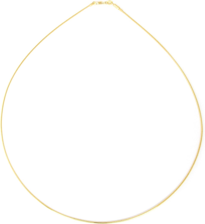 Collar cadena pulsera tobillera Tipo Omega Serpiente de fina plata de ley 925 bañada en oro 14kt 1mm Bisutería Italiano Mujer Hombre - 30, 35, 40, 45, 50, 55, 60cm