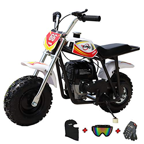 X-PRO 40cc Kids Mini Dirt Bike Pit Bike Gas Power Bike Off Road Motorcycle with Gloves, Googles and Face Mask,Red