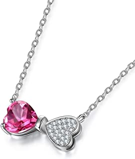 Necklace Topaz Jewels Bow Necklace Love Heart Necklace Silver Gemstone Pendant Ladies Jewelry Gifts Necklaces For Women Gi...