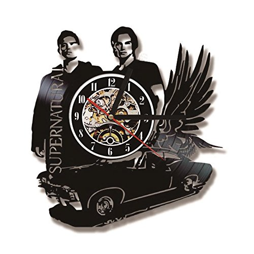 3D Schwarz Hohl Supernatural Thema LED Rekorduhr Fliegende Auto Form Vinyl Wanduhr Kreative Antiken Stil Hängende Uhr