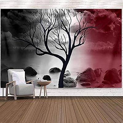 """✔ Calidad suprema: hecho de tela de poliéster, nuestro Misty Tree of Life es liviano, suave, duradero, agradable para la piel e incluso no se decolora. Buen descenso, apto para colgar en la pared. ✔ Tamaño adecuado: Pequeña: H51 """"* W59"""" (130 cm * 150..."""