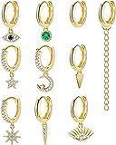 Adramata 10-16 Piezas Chapadas En Tono Dorado Pequeños Conjuntos De Pendientes Colgantes Para Mujer Mini Pendientes Colgantes De Aro CZ...