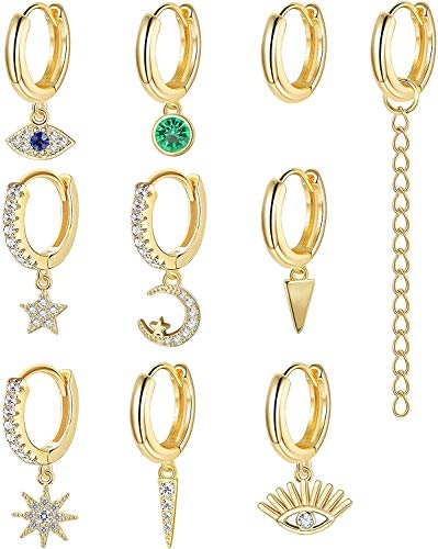 Adramata 10-16 Piezas Chapadas En Tono Dorado Pequeños Conjuntos De Pendientes Colgantes Para Mujer Mini Pendientes Colgantes De Aro CZ Huggie Pendientes De Aro Gold Moon Star Evil Eye Hoop